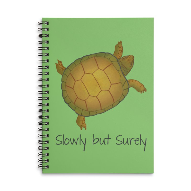Turtle - Slowly but Surely - Lazy Animals in Lined Spiral Notebook by Beatrizxe