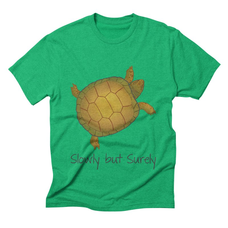 Turtle - Slowly but Surely - Lazy Animals Men's Triblend T-Shirt by Beatrizxe