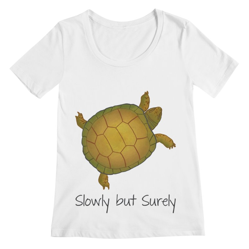 Turtle - Slowly but Surely - Lazy Animals Women's Regular Scoop Neck by Beatrizxe