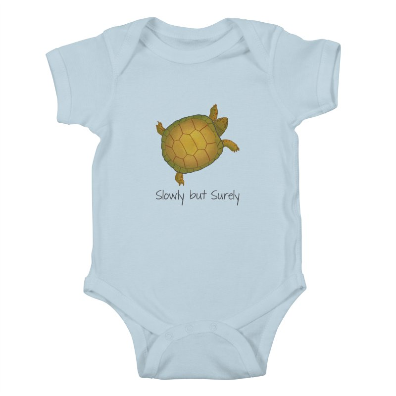Turtle - Slowly but Surely - Lazy Animals Kids Baby Bodysuit by Beatrizxe