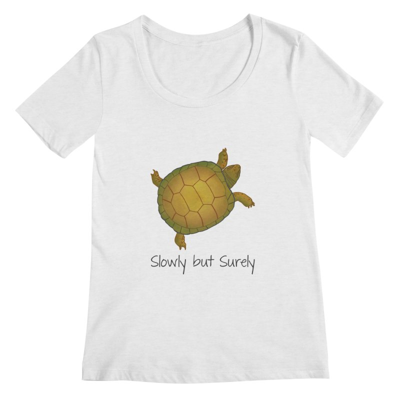 Turtle - Slowly but Surely - Lazy Animals Women's Scoopneck by Beatrizxe