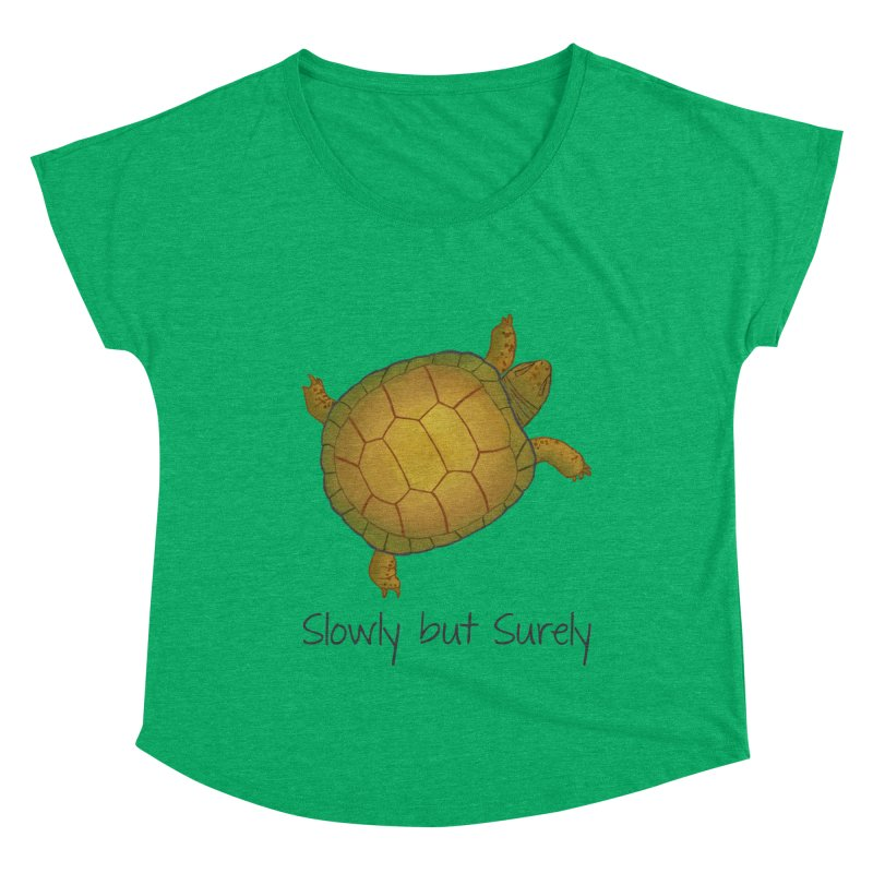 Turtle - Slowly but Surely - Lazy Animals Women's Dolman Scoop Neck by Beatrizxe