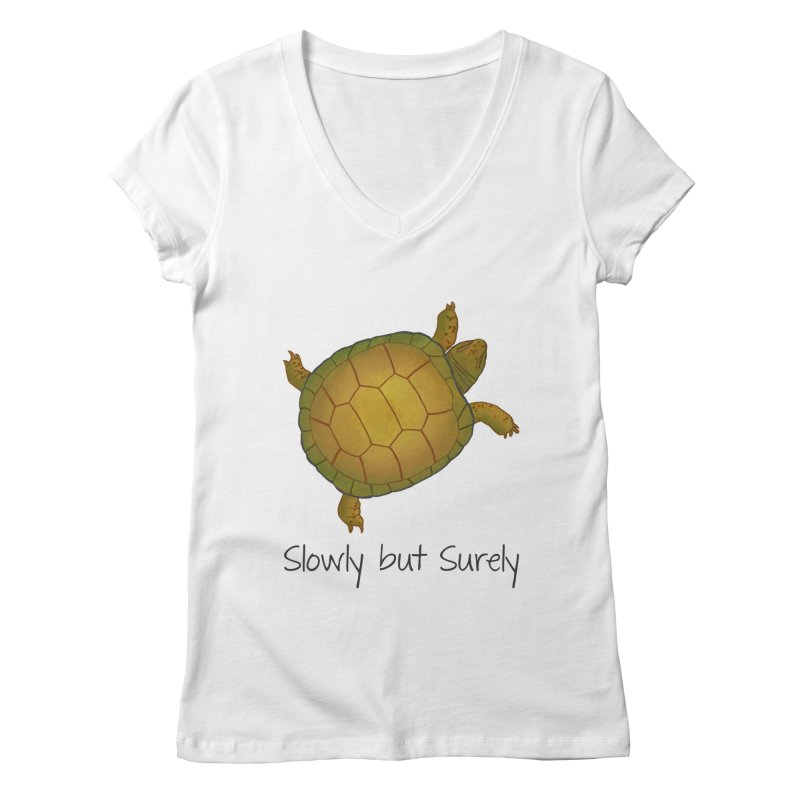Turtle - Slowly but Surely - Lazy Animals Women's Regular V-Neck by Beatrizxe