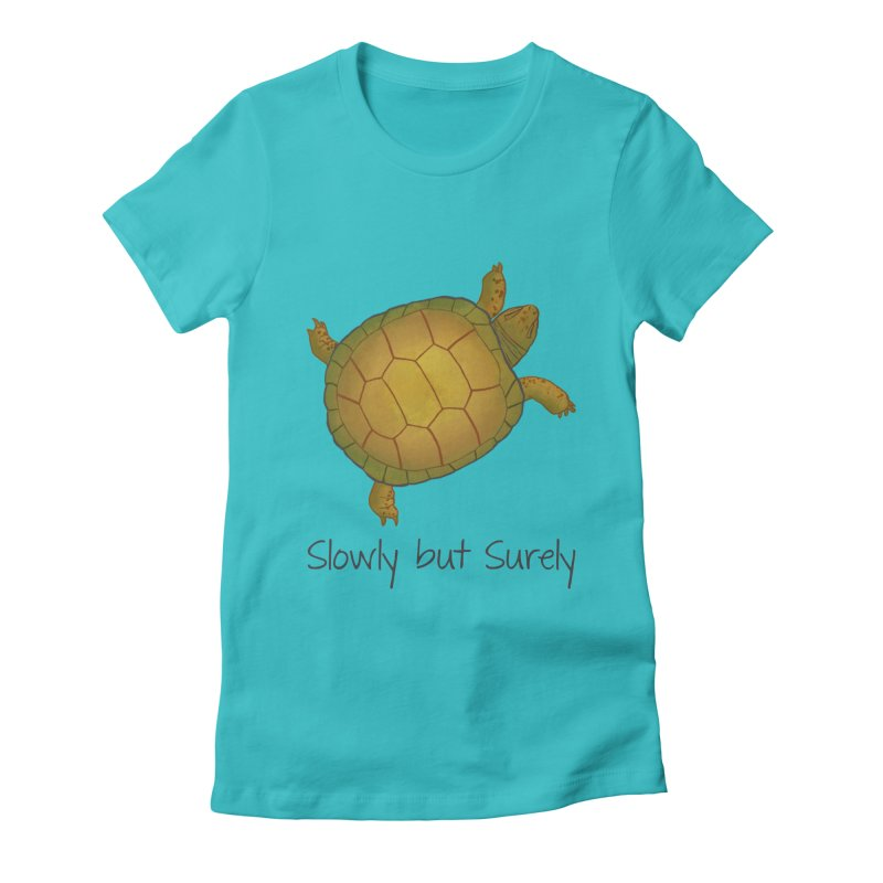Turtle - Slowly but Surely - Lazy Animals Women's Fitted T-Shirt by Beatrizxe