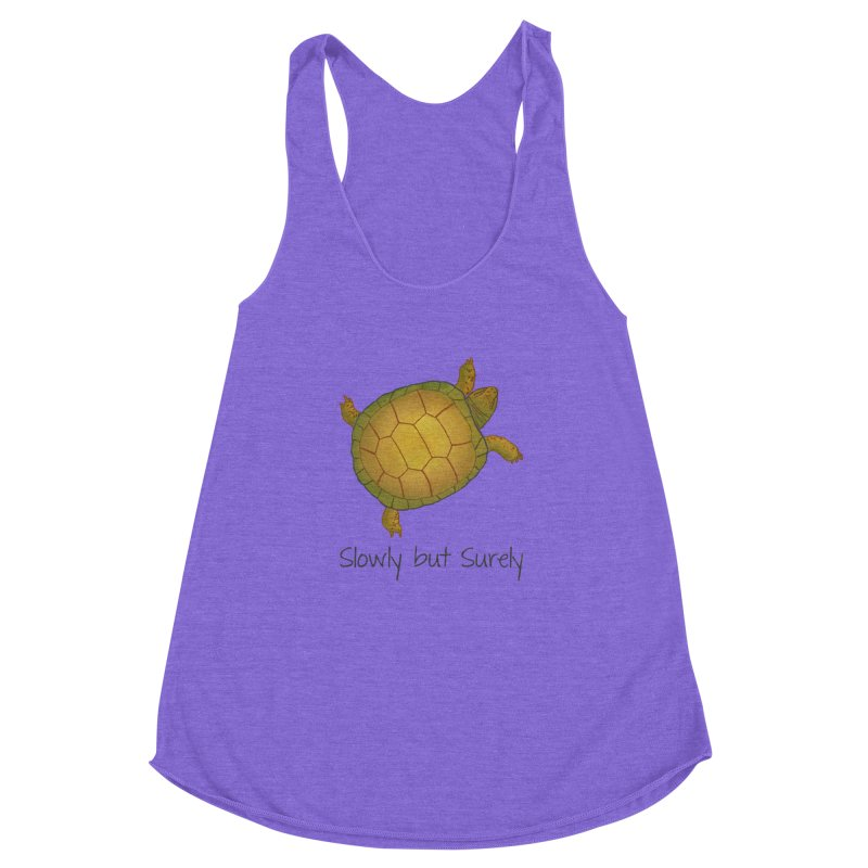 Turtle - Slowly but Surely - Lazy Animals Women's Racerback Triblend Tank by Beatrizxe