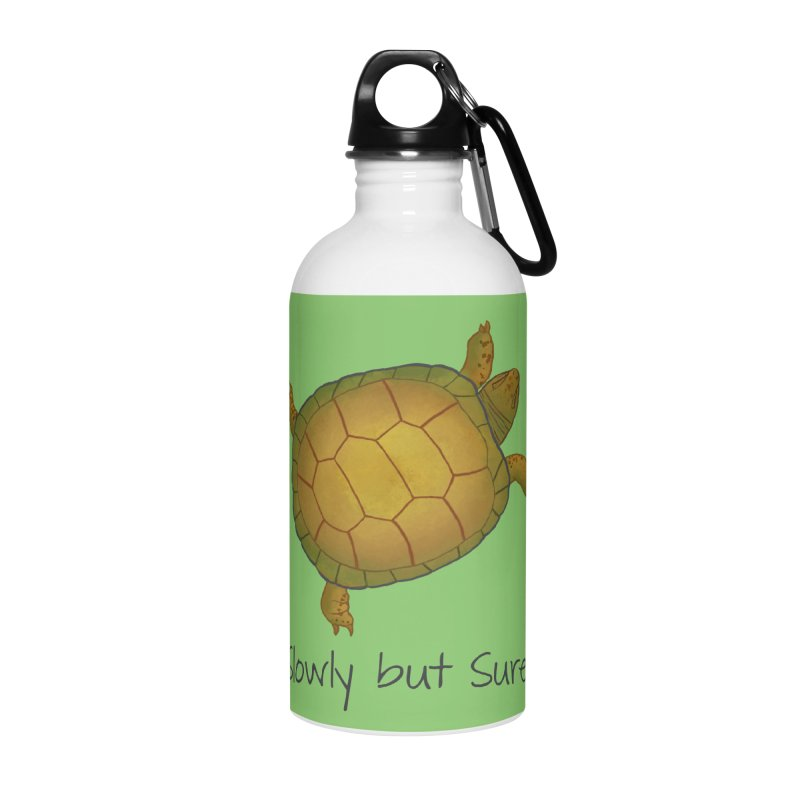 Turtle - Slowly but Surely - Lazy Animals Accessories Water Bottle by Beatrizxe