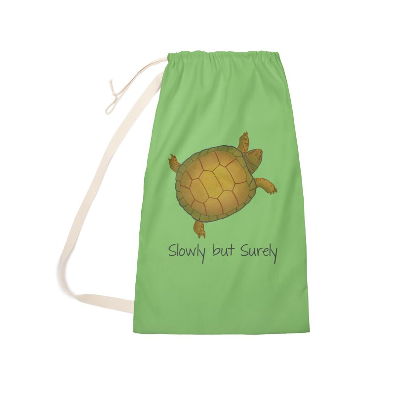 Turtle - Slowly but Surely - Lazy Animals Accessories Laundry Bag Bag by Beatrizxe