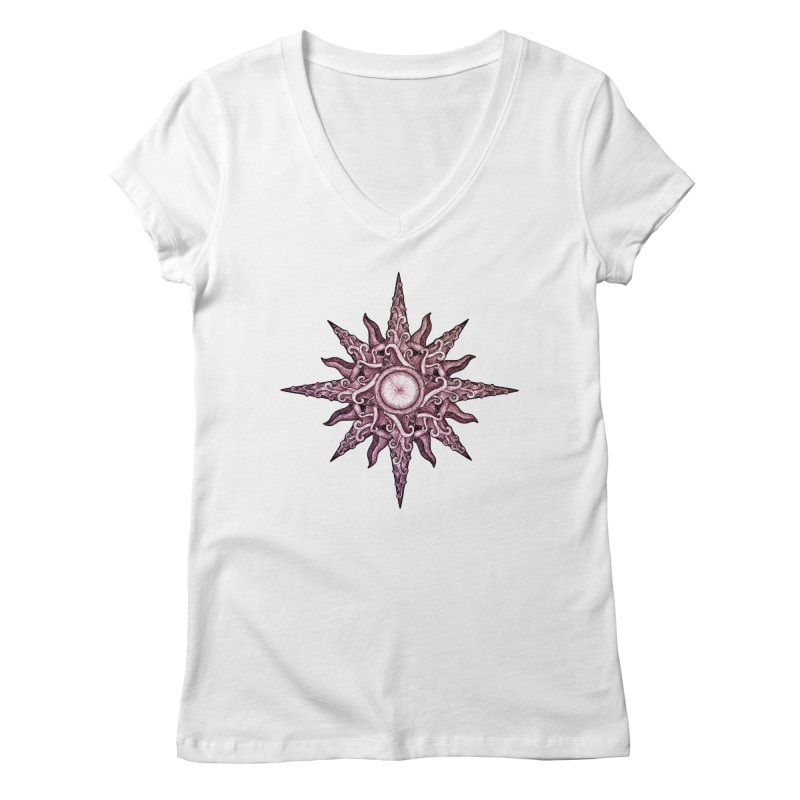 Psychedelic windrose Women's Regular V-Neck by Beatrizxe