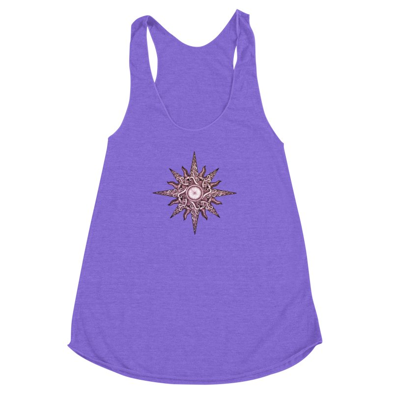 Psychedelic windrose Women's Racerback Triblend Tank by Beatrizxe