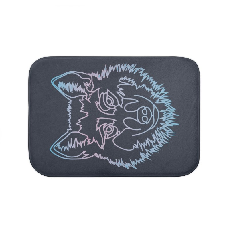 Vector wolf in one line Home Bath Mat by Beatrizxe
