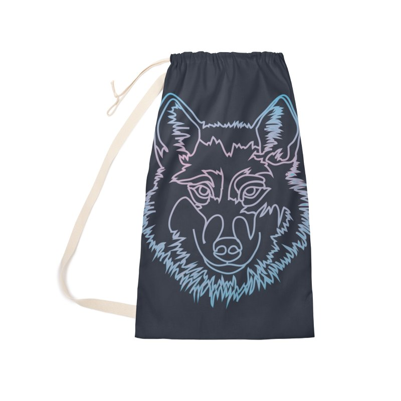Vector wolf in one line Accessories Laundry Bag Bag by Beatrizxe