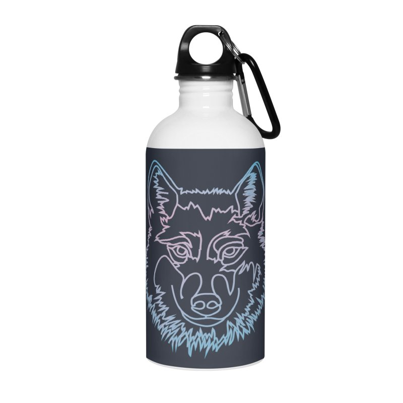 Vector wolf in one line Accessories Water Bottle by Beatrizxe