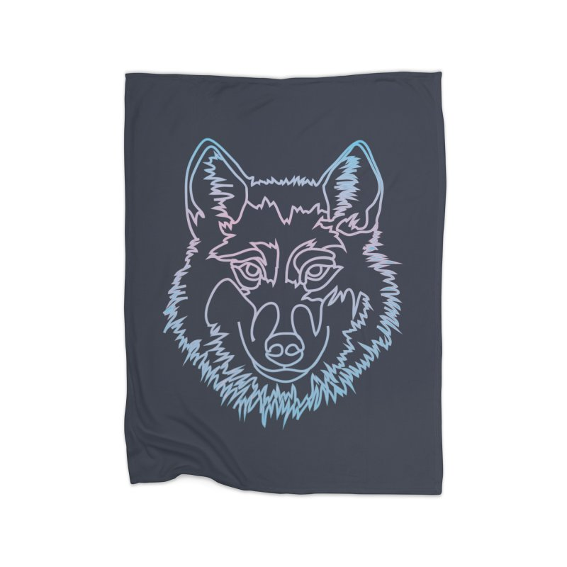 Vector wolf in one line Home Fleece Blanket by Beatrizxe