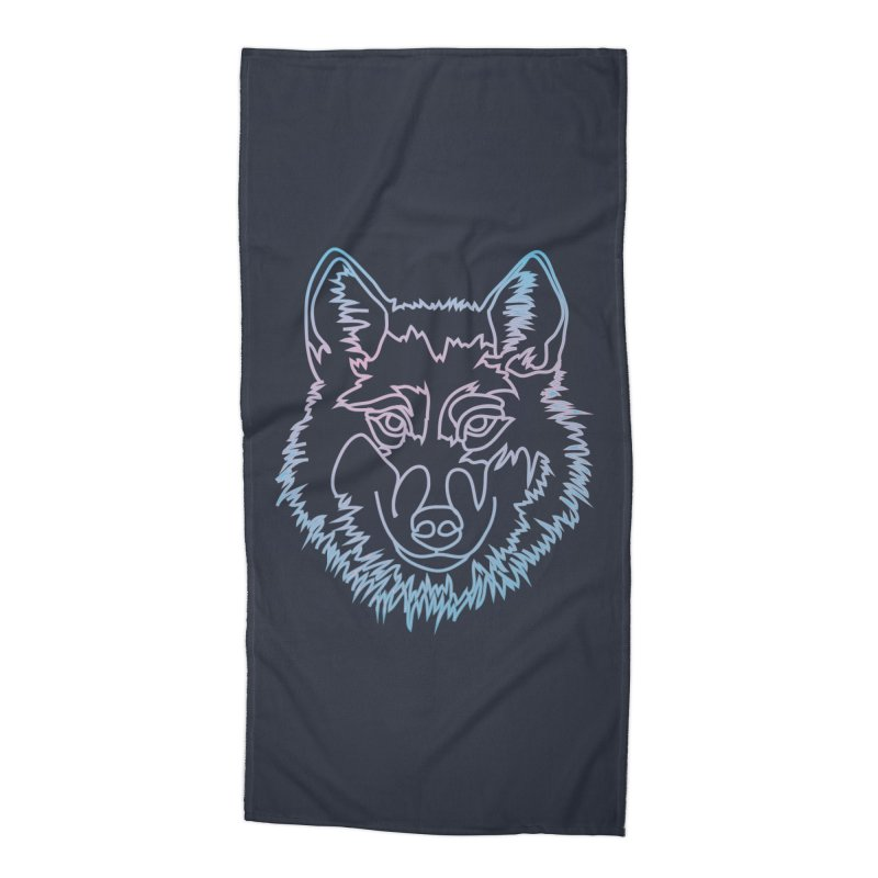 Vector wolf in one line Accessories Beach Towel by Beatrizxe