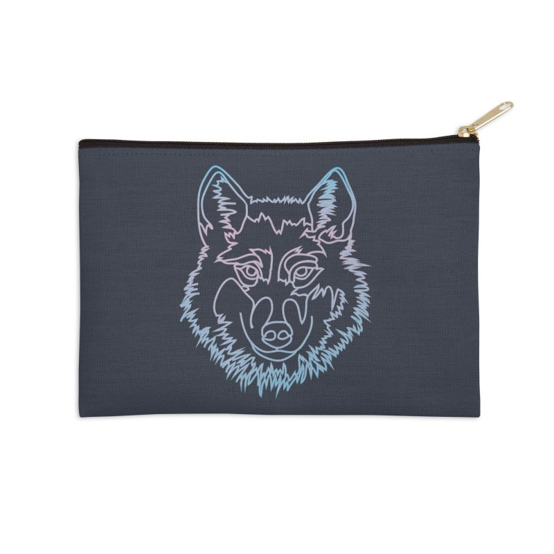 Vector wolf in one line Accessories Zip Pouch by Beatrizxe