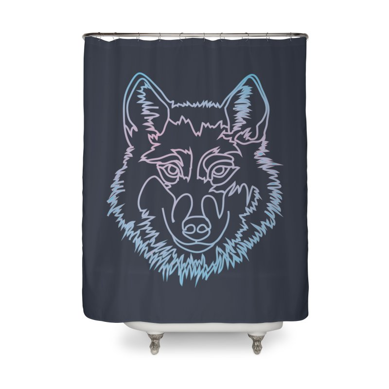 Vector wolf in one line Home Shower Curtain by Beatrizxe