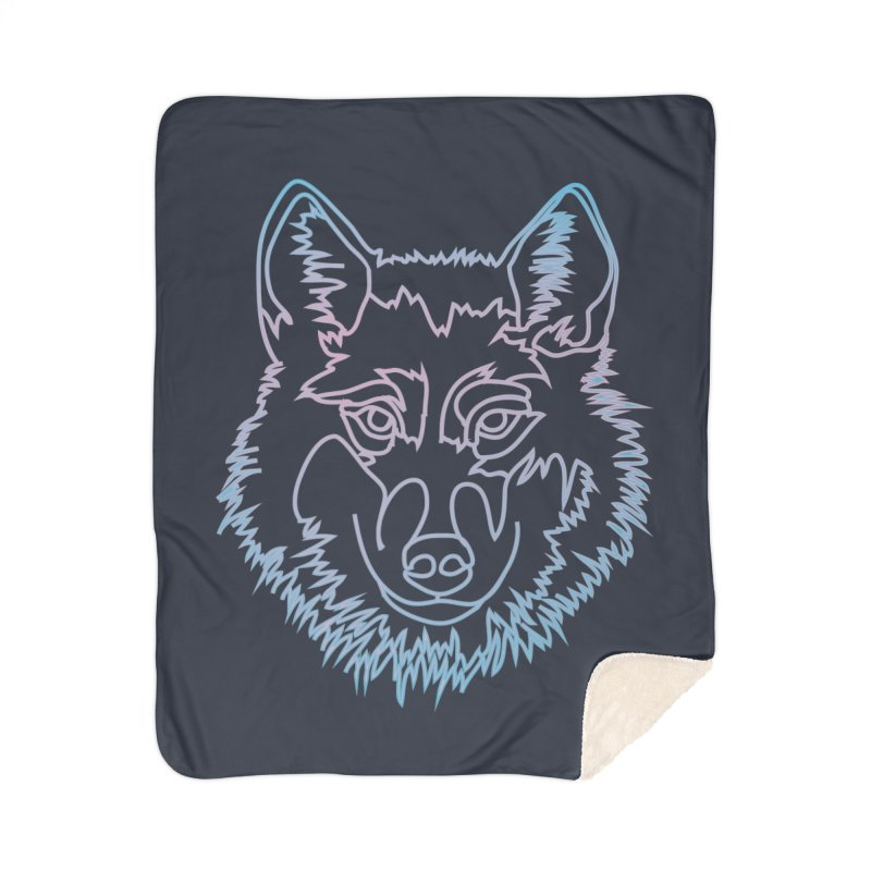 Vector wolf in one line Home Sherpa Blanket Blanket by Beatrizxe