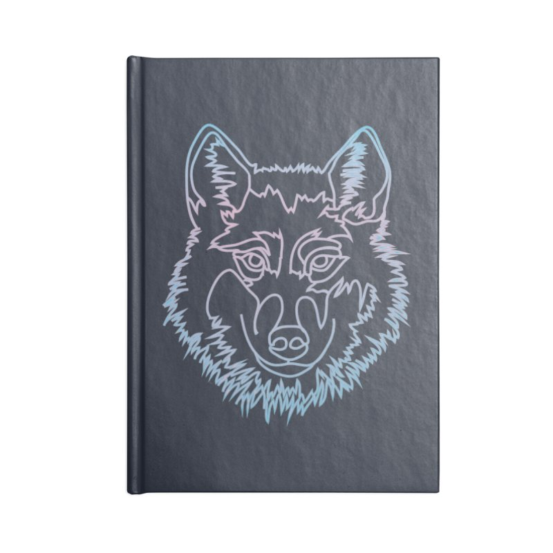 Vector wolf in one line Accessories Blank Journal Notebook by Beatrizxe