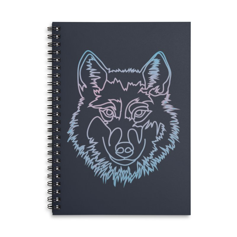 Vector wolf in one line Accessories Lined Spiral Notebook by Beatrizxe