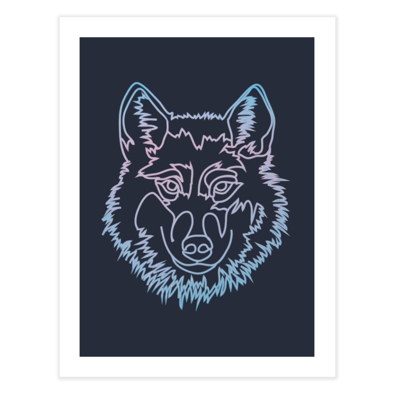 Vector wolf in one line Home Fine Art Print by Beatrizxe