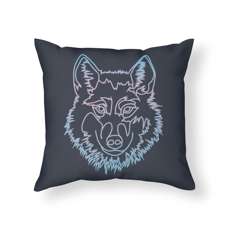 Vector wolf in one line Home Throw Pillow by Beatrizxe