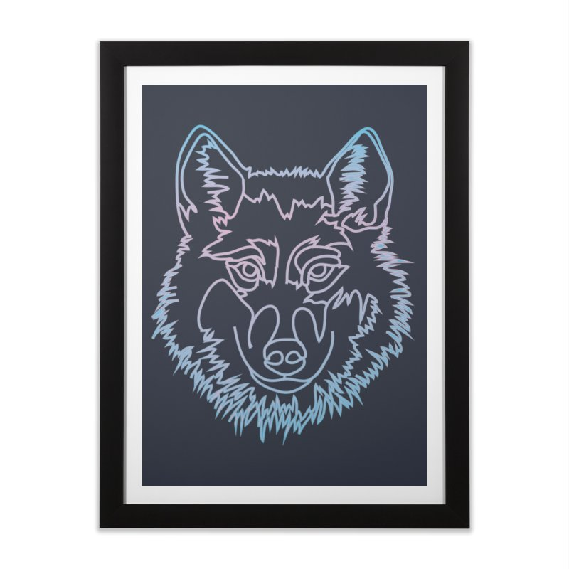 Vector wolf in one line Home Framed Fine Art Print by Beatrizxe