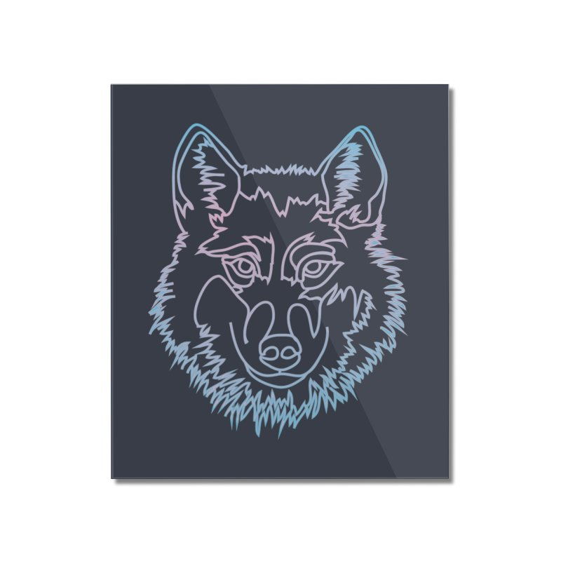 Vector wolf in one line Home Mounted Acrylic Print by Beatrizxe