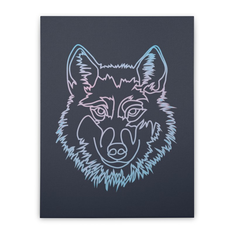 Vector wolf in one line Home Stretched Canvas by Beatrizxe