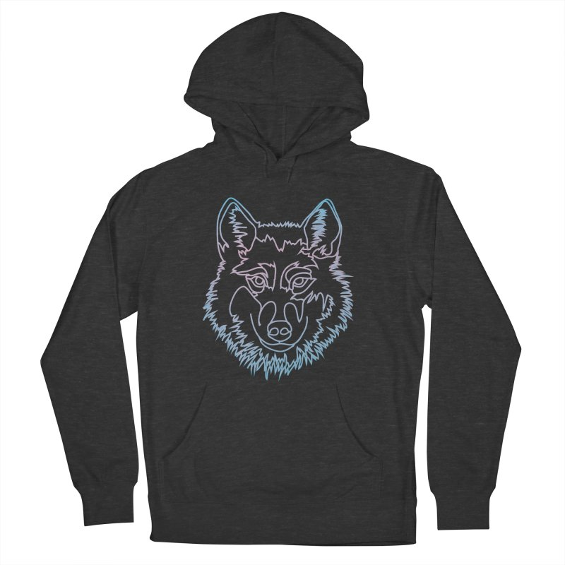 Vector wolf in one line Women's French Terry Pullover Hoody by Beatrizxe