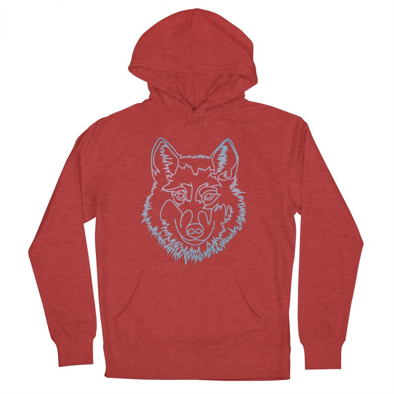 Vector wolf in one line Men's French Terry Pullover Hoody by Beatrizxe