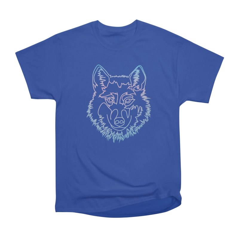 Vector wolf in one line Women's Heavyweight Unisex T-Shirt by Beatrizxe