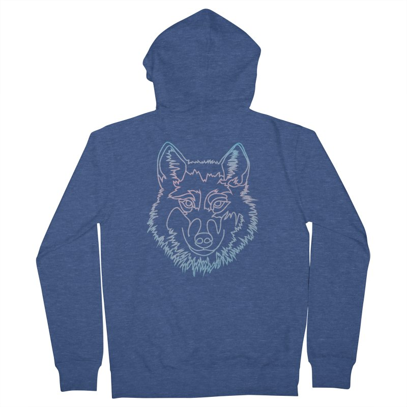 Vector wolf in one line Women's French Terry Zip-Up Hoody by Beatrizxe
