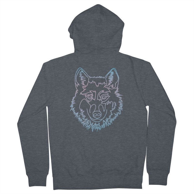 Vector wolf in one line Men's French Terry Zip-Up Hoody by Beatrizxe