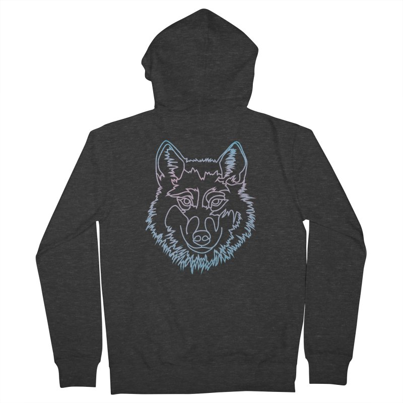 Vector wolf in one line Men's Zip-Up Hoody by Beatrizxe