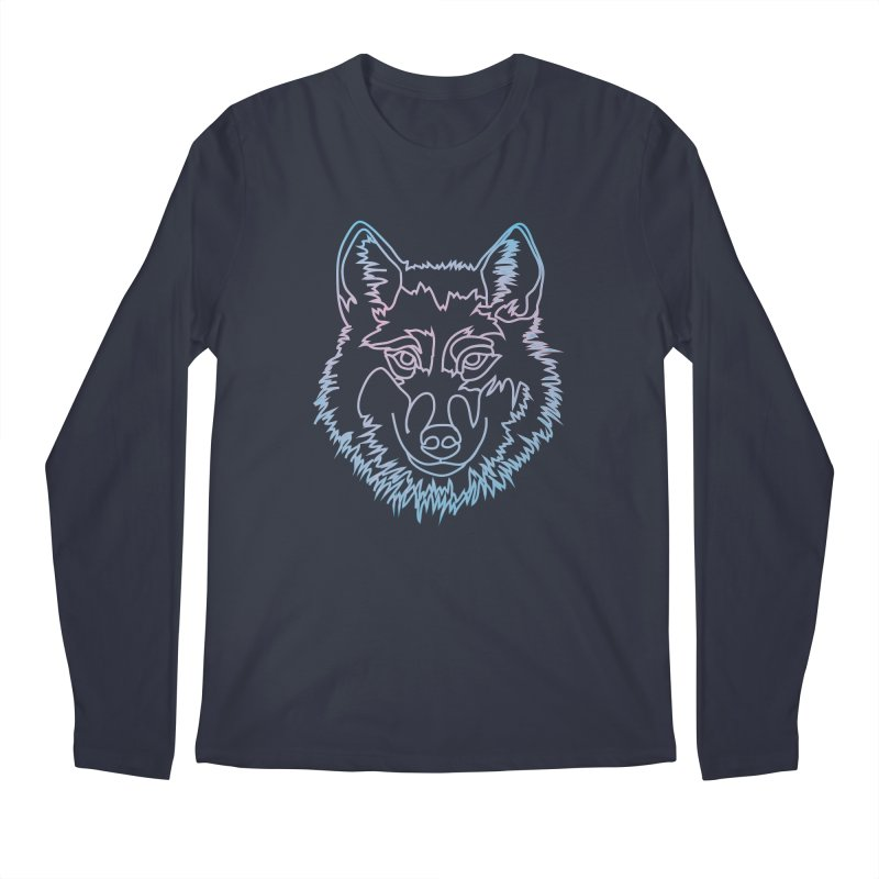 Vector wolf in one line Men's Regular Longsleeve T-Shirt by Beatrizxe