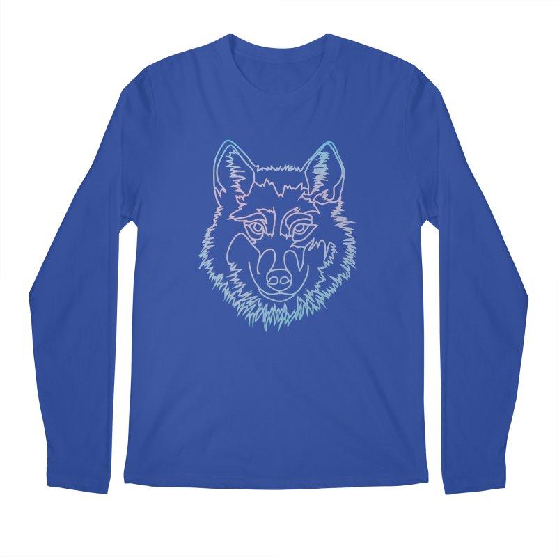 Vector wolf in one line Men's Regular Longsleeve T-Shirt by Beatrizxe