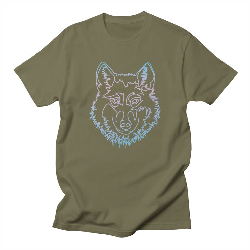 Vector wolf in one line Men's Regular T-Shirt by Beatrizxe