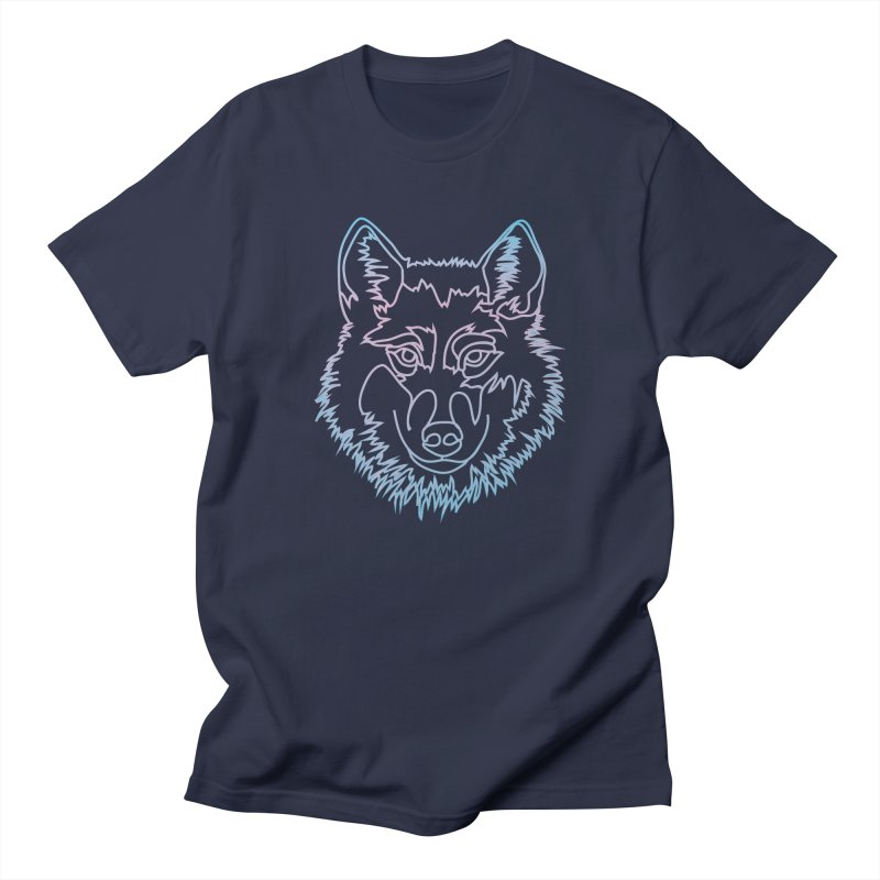 Vector wolf in one line in Men's T-Shirt Navy by Beatrizxe