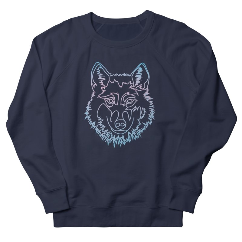Vector wolf in one line Women's French Terry Sweatshirt by Beatrizxe