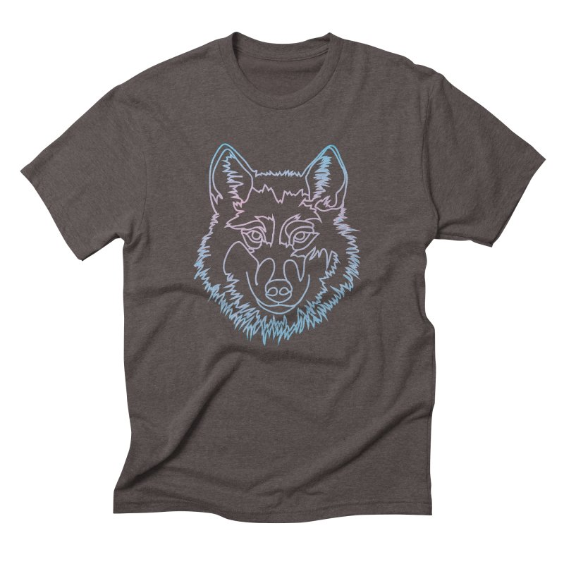 Vector wolf in one line Men's Triblend T-Shirt by Beatrizxe