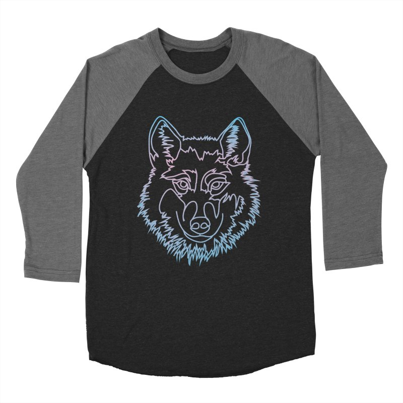 Vector wolf in one line Women's Baseball Triblend T-Shirt by Beatrizxe