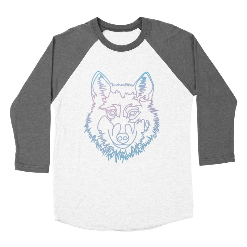 Vector wolf in one line Men's Baseball Triblend T-Shirt by Beatrizxe