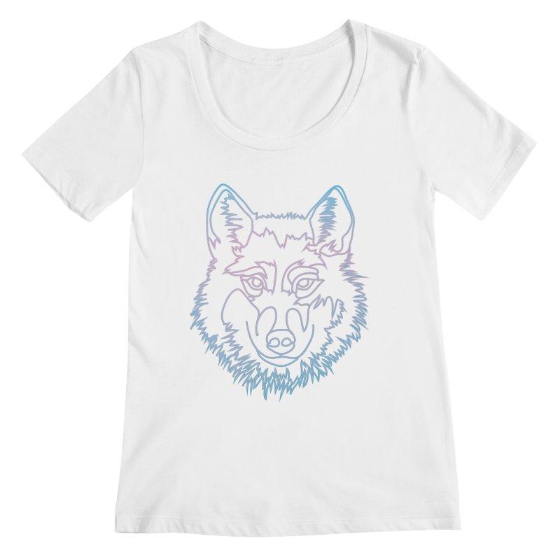 Vector wolf in one line Women's Regular Scoop Neck by Beatrizxe
