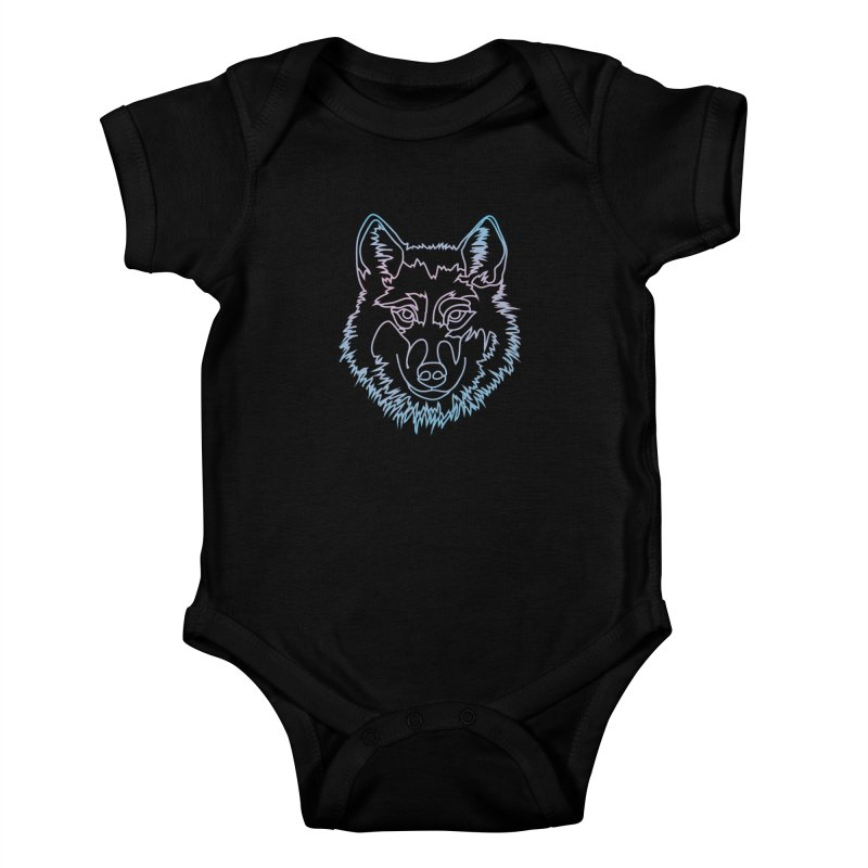Vector wolf in one line Kids Baby Bodysuit by Beatrizxe