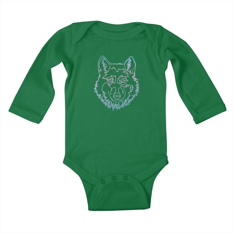 Vector wolf in one line Kids Baby Longsleeve Bodysuit by Beatrizxe