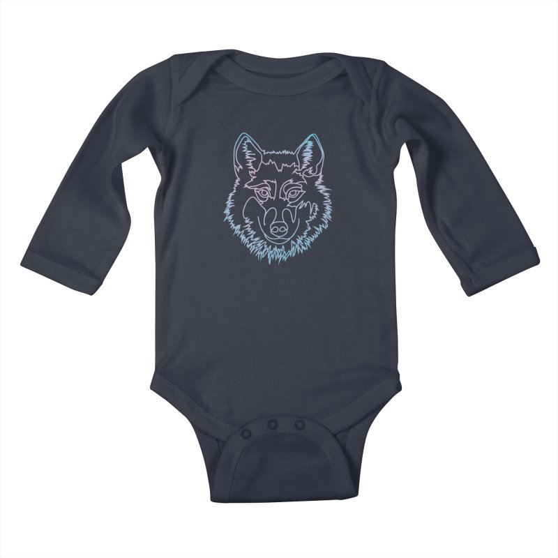 Vector wolf in one line Kids Baby Longsleeve Bodysuit by Beatrizxe
