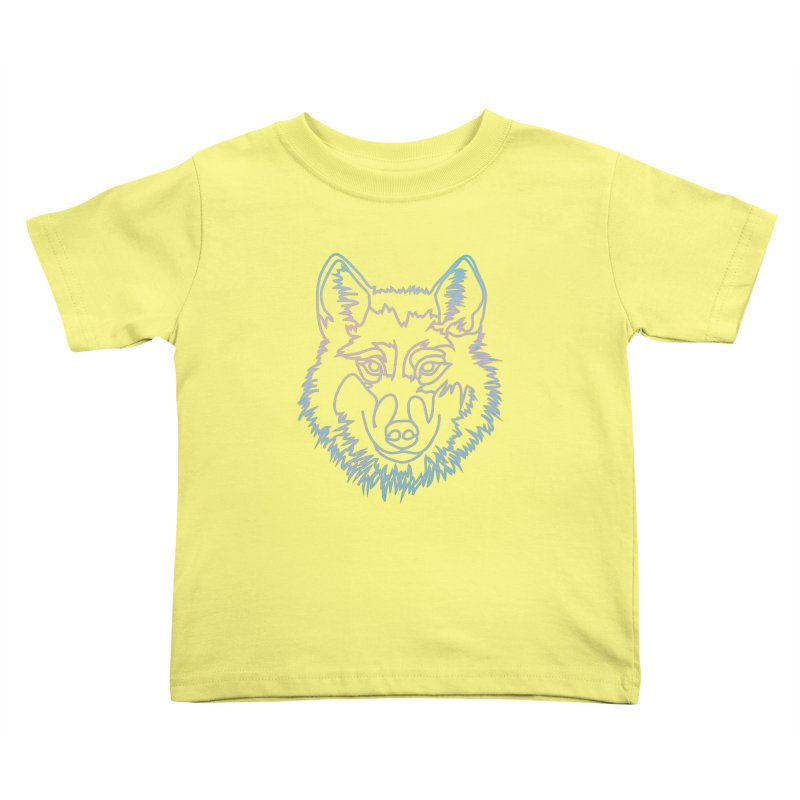 Vector wolf in one line Kids Toddler T-Shirt by Beatrizxe