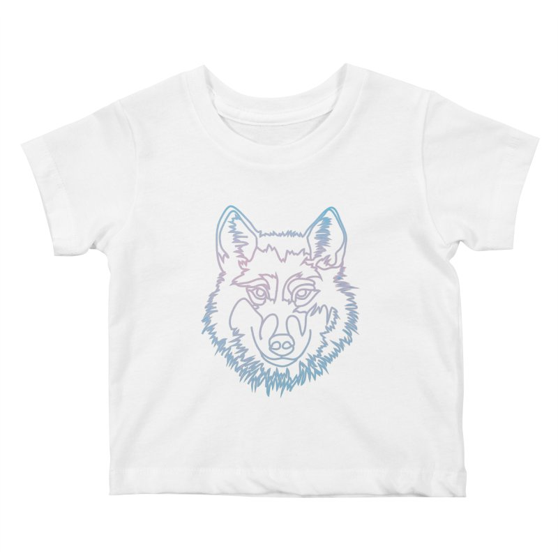 Vector wolf in one line Kids Baby T-Shirt by Beatrizxe