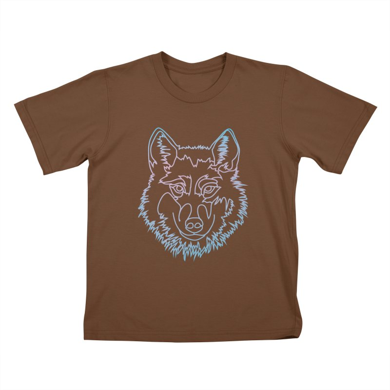 Vector wolf in one line Kids T-Shirt by Beatrizxe