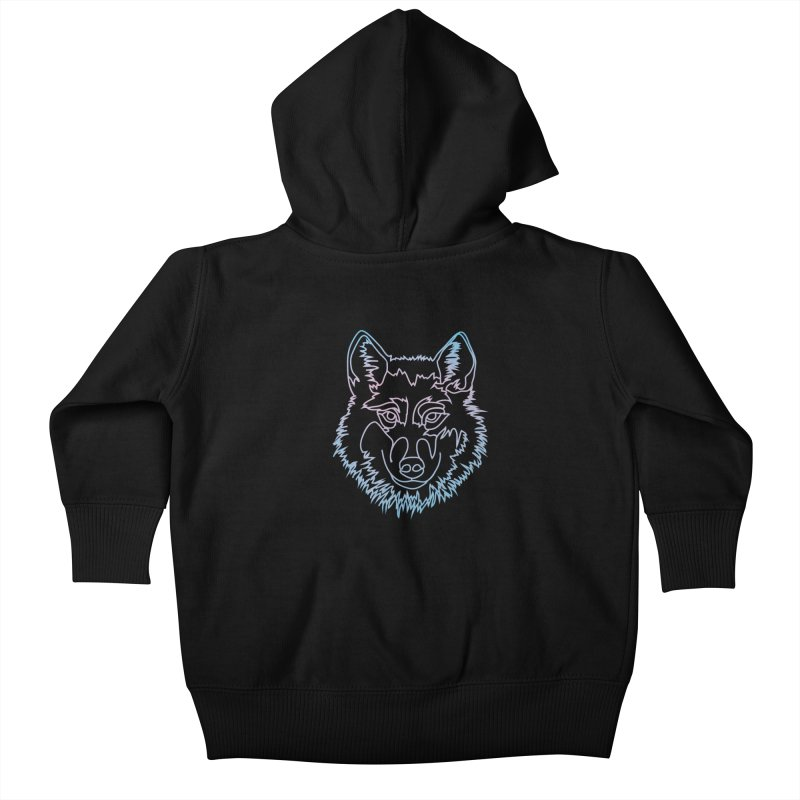 Vector wolf in one line Kids Baby Zip-Up Hoody by Beatrizxe